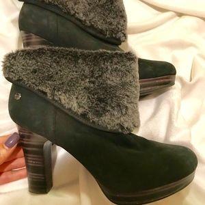 e445deb1740 Ugg Dandylion Suede Fur Cuff Ankle Boots Sz 8.5